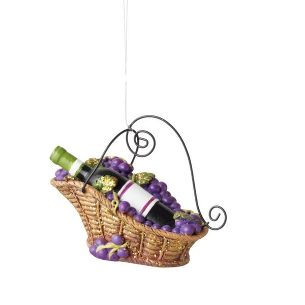 """3.75"""" Tuscan Winery Bottle of Red Wine in Basket Christmas Ornament - PURPLE"""
