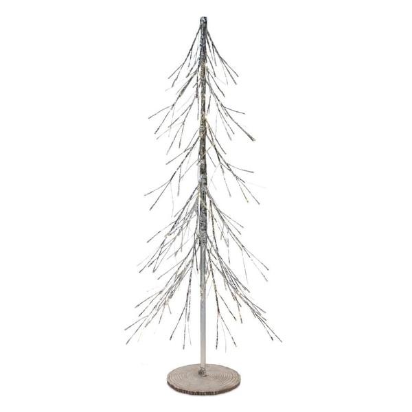 "48"" Silver Polyresin Christmas Tree With LED Lights"