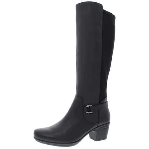 Clarks Womens Emslie March Riding Boots Leather Knee-High - Black Leather