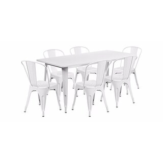 "Offex 31.5"" x 63"" Rectangular White Metal Indoor Table Set with 6 Stack Chairs [OF-ET-CT005-6-30-WH-GG]"