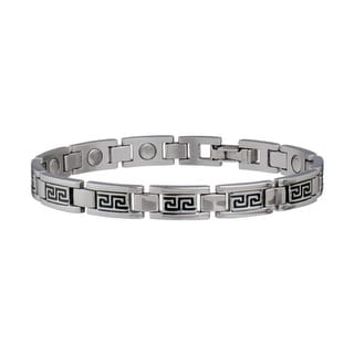 Sabona Jewelry Women Bracelet Lady Greek Key Magnetic Silver Black 275