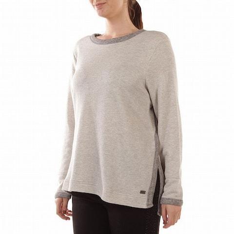 Marc York MNY Gray Women's Size 1X Plus Crewneck Slit Sweater
