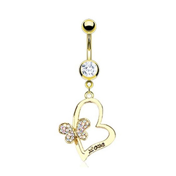 Gold Plated Stainless Steel Navel Belly Button Ring with Paved Gem Butterfly on Engraved 'LOVE' Heart