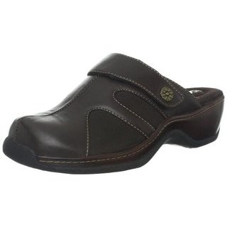 SoftWalk Womens Acton Leather Distressed Clogs - 6 medium (b,m)