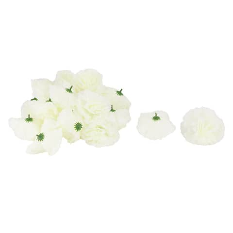 Wedding Party Fabric Artificial Carnation Flower Heads DIY Craft Decor Light Green 20pcs - Light Green