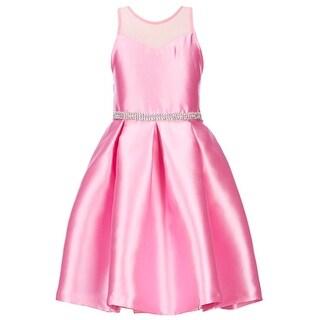 Rare Editions Little Girls Fuchsia Illusion Neckline Shiny Easter Dress