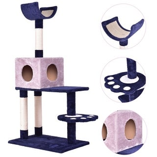 Gymax Pet Cat Tree Play House Tower Condo Bed Scratch Post Kitten Pet House Tower