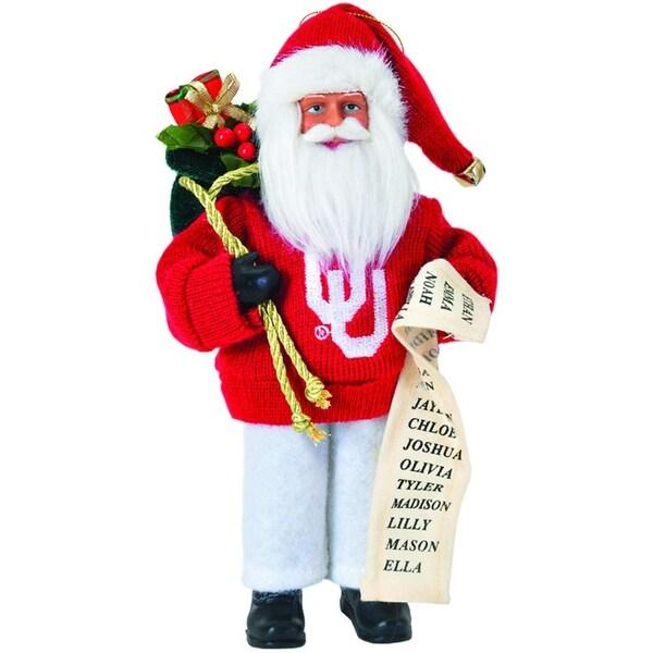 """9"""" NCAA Oklahoma Sooners Santa Claus with Good List Christmas Ornament"""