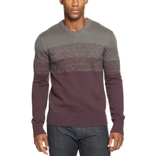 Sean John Cotton V-Neck Sweater Eiffel Tower Grey and Purple Colorblock - XL