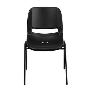 Offex HERCULES Series 661 lb. Capacity Black Ergonomic Shell Stack Chair with Black Frame and 16'' Seat Height