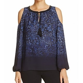 T Tahari NEW Blue Womens Size Small S Cold-Shoulder Peasant Blouse