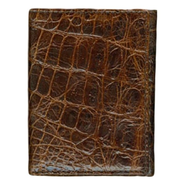 Roper Western Wallet Mens Trifold Croco Leather OS Brown