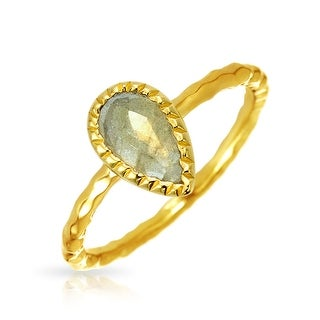 Bling Jewelry 925 Silver Labradorite Teardrop Modern Hammered Ring