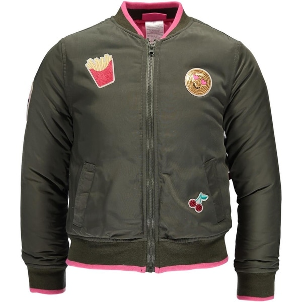 a6e0dfdcc Shop Kidtopia Little Girls 4-6X Patch Bomber Jacket - Olive - Free Shipping  On Orders Over $45 - Overstock - 20600689