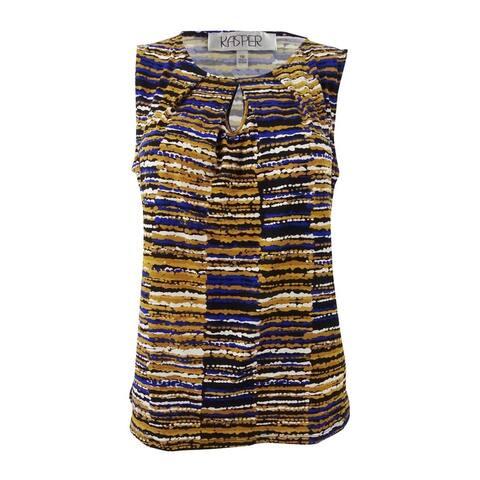 Kasper Women's Printed Keyhole Shell Top - Marigold Multi
