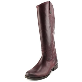 Frye Melissa Button Glazed Round Toe Leather Knee High Boot