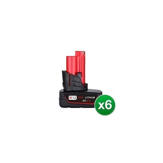 Replacement Battery For Milwaukee 2401-22 Power Tools - 48-11-2440 (4000mAh, 12V, Li-Ion) - 6 Pack