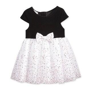 Marmellata Baby Girls Velour Dot Mesh Party Dress