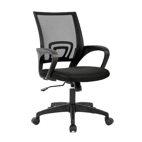 Mid Back Swivel Lumbar Support Ergonomic Mesh Chair with Armrest