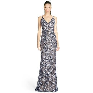 Jovani Embellished Floral Lace V-Neck Open Back Evening Gown Dress - 2