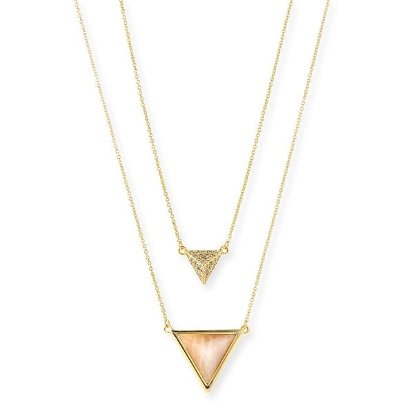 House of Harlow by Nicole Richie Womens Temple Multi-Chain Necklace Rose Quartz - gold/rose