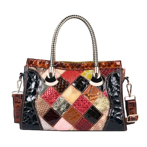 CHAOS BY ELSIE Black Mosaic Theme Genuine Leather Convertible Tote Bag - 13x4.3x8.5 inches