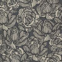 Brewster 450-67346 Calista Black Modern Rose Wallpaper - Black Rose - N/A