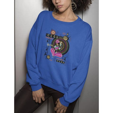 A Woman Sitting With A Drink Sweatshirt Women's -Image by Shutterstock - Royal