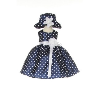 Cinderella Couture Baby Girls Navy White Polka Dot Belted Occasion Dress 6-24M