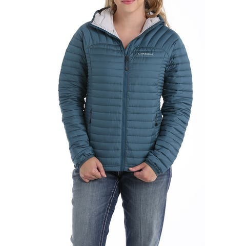 Cinch Western Jacket Womens Quilted Hood Zip Teal