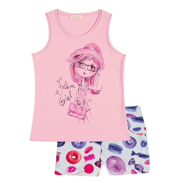 Pulla Bulla Toddler Girl Outfit Graphic Tank Top and Shorts 2-piece Set 2-4 Years