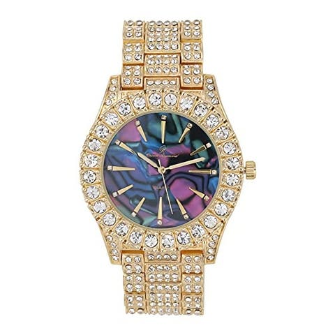 Mens Gold Big Rocks Timepiece Time Indicators Overlayed on Beautiful Colorful Abaloni Design Dials - ST10327MO - N/A