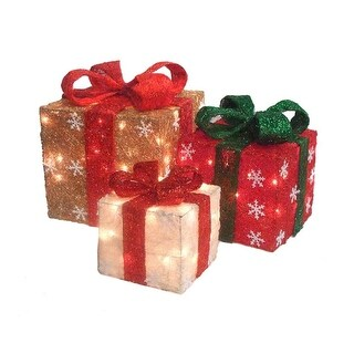 """Link to Set of 3 Red and Ivory Lighted Gift Boxes Christmas Outdoor Decorations 10"""" Similar Items in Christmas Decorations"""