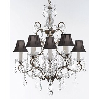 Swarovski Crystal Trimmed Wrought Iron Crystal Chandelier With Black Shades