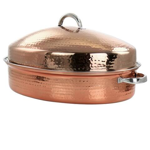 Gibson Home Radiance 17.5 Inch Stainless Steel Copper Plated Oval Roaster with Lid and Roasting Rack