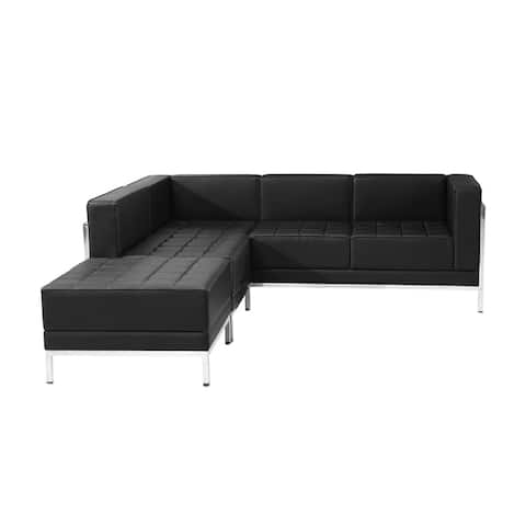Offex 3 Piece Contemporary Black Leather Reception Area Sectional Configuration [OFX-274369-FF]