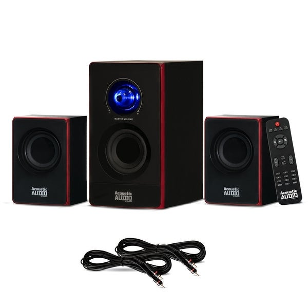 Acoustic Audio AA2103 Bluetooth Home 2.1 Speaker System and 2 Extension Cables