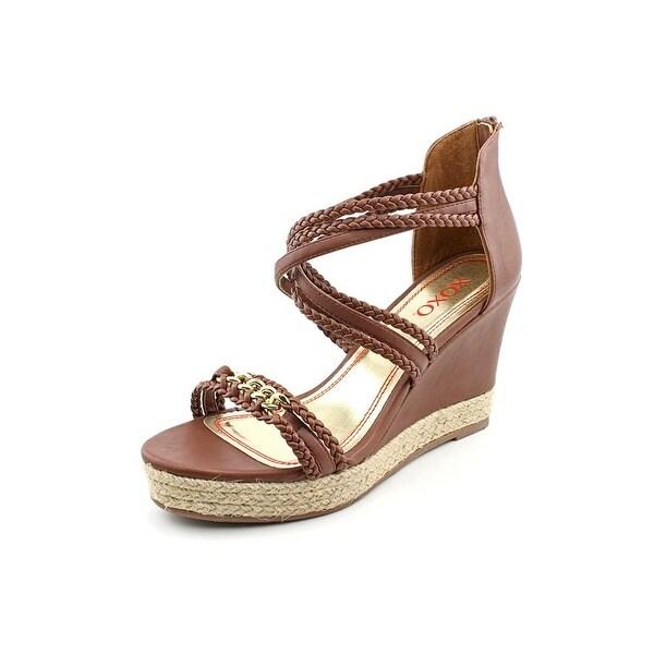 XOXO Flora Women Open Toe Synthetic Brown Wedge Sandal