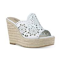 Nine West Derek Espadrille Platform Wedge Sandal White - 11 b(m)