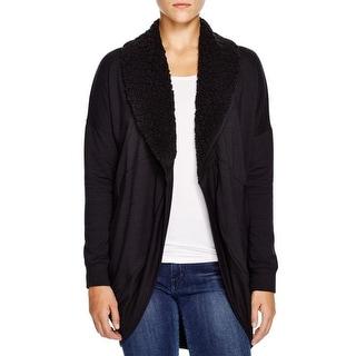 Splendid Womens Cardigan Sweater Knit Faux Fur Collar
