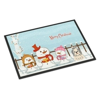 Carolines Treasures BB2416MAT Merry Christmas Carolers Shih Tzu Silver White Indoor or Outdoor Mat 18 x 0.25 x 27 in.