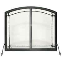 "Panacea 15956 Flat Panel Fireplace Screen with Doors, Black, 31"" x 39"""