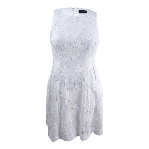 Tahari ASL Women's Lace Fit & Flare Dress (12, White)