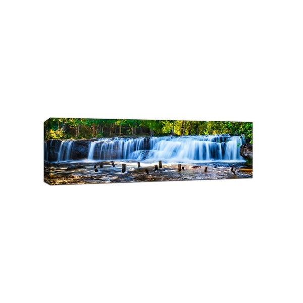 Tropical Waterfall - Tropical Panoramic - 48x16 Gallery Wrapped Canvas Wall Art