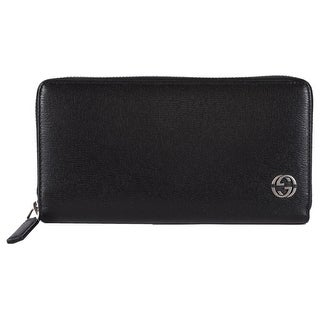 "Gucci 408801 Black Leather GG Plaque Zip Around Wallet Clutch - 7.5"" x 4"" inches"
