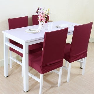 Unique Bargains Burgundy Spandex Washable Dining Chair Cover Protector