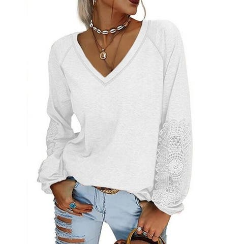 Lace Front V Neck Long Sleeve Pullover Sweater