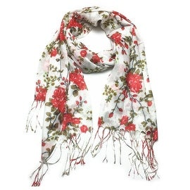 Women's Fashion Floral Soft Wraps Scarves - F1 Red