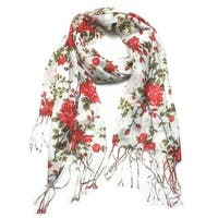 Women's Fashion Floral Soft Wraps Scarves - F1 Red - Large