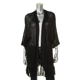 LRL Lauren Jeans Co. Womens Cotton Fringe Cardigan Sweater - M